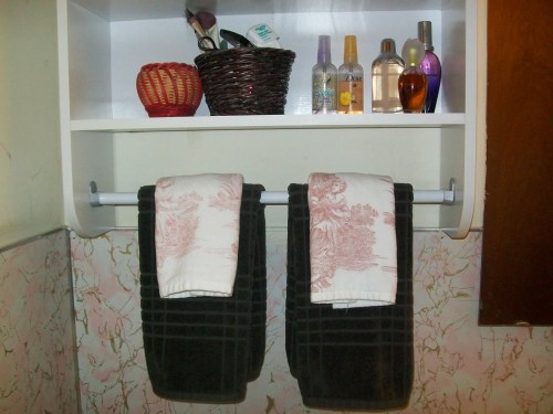 Hand towels on bath cabinet